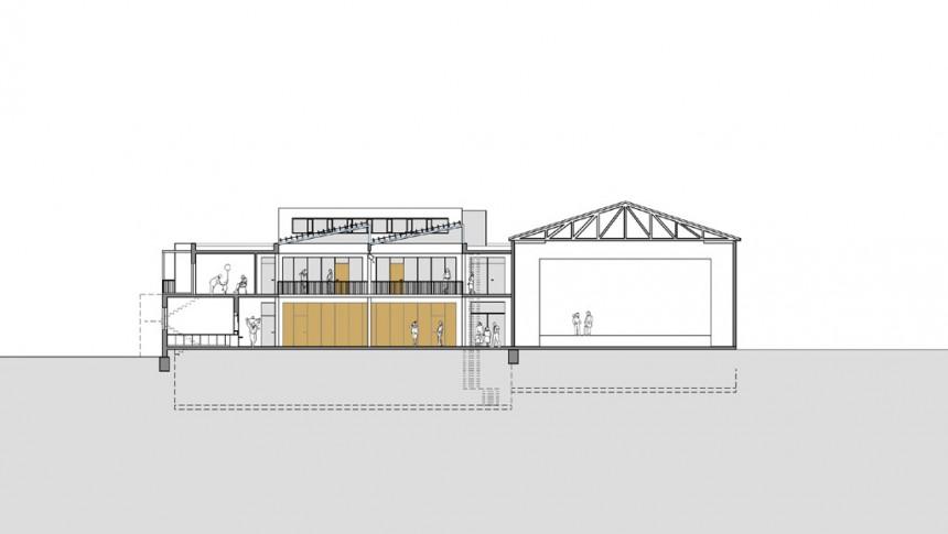 Energiekonzept Gemeindezentrum (Querschnitt Neubau)
