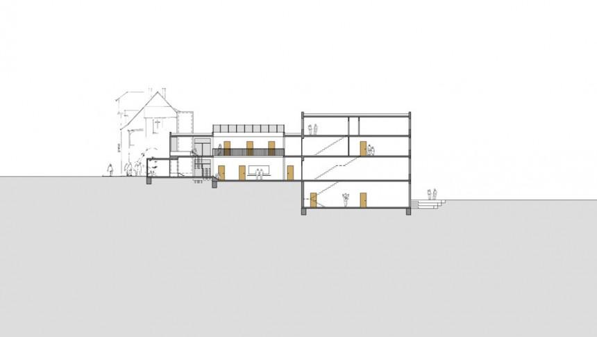 Energiekonzept Gemeindezentrum (Längsschnitt Neubau)